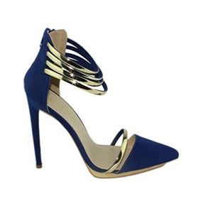 Blue Suede Stiletto Party Pumps with Gold Straps